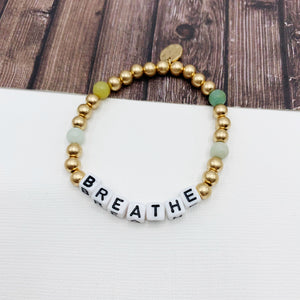 Boutique Bracelet Collection :: Blake Amazonite Natural Stone Affirmation Message Bracelet - Breathe or Fearless