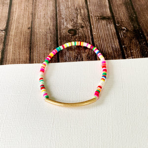 Beach Bracelet Collection :: Ava Multi Gold Bar Bracelet