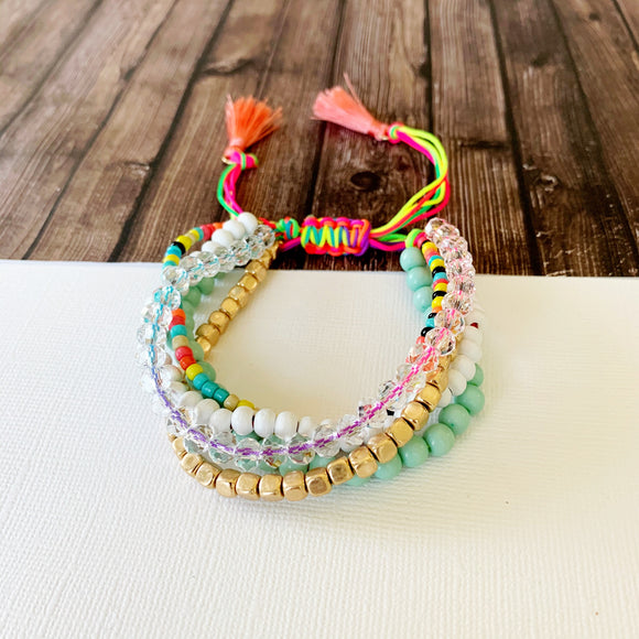Beach Bracelet Collection :: Cat Multi-Strand Neon Slider Bracelet