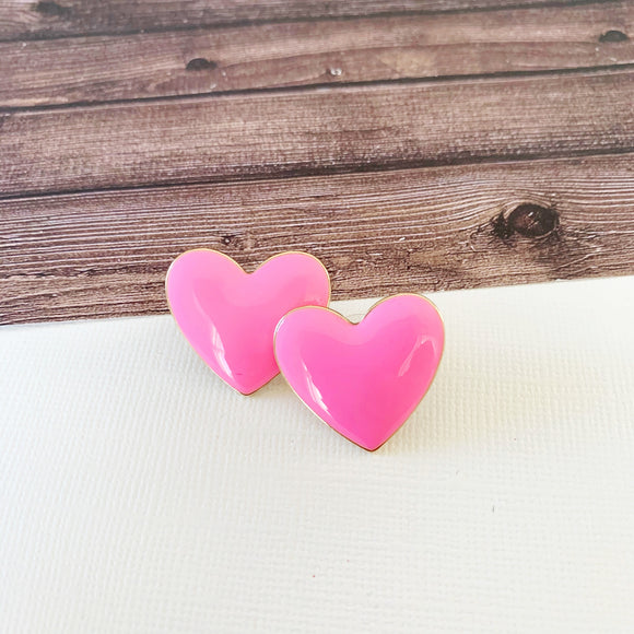Baubles & Bits Boutique :: Emma Pink Enamel Heart Post-backs