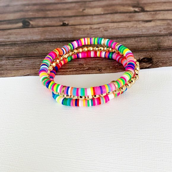Beach Bracelet Collection :: Emilia Multi Colored Stacking Bracelets