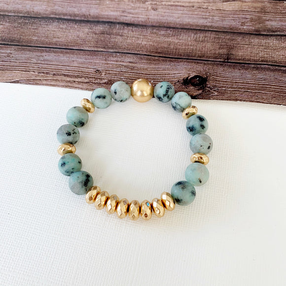 Boutique Bracelet Collection :: Cecelia Natural Stone - Kiwi Stone