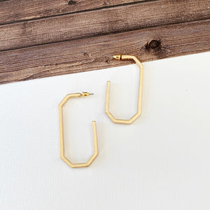 "Hoopla Hoop Earring Collection :: Leanna Gold 2"" Elongated Octagon Hoops"