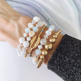 Beach Bracelet Collection :: Oaklynn Seashell Cream Slider Bracelet
