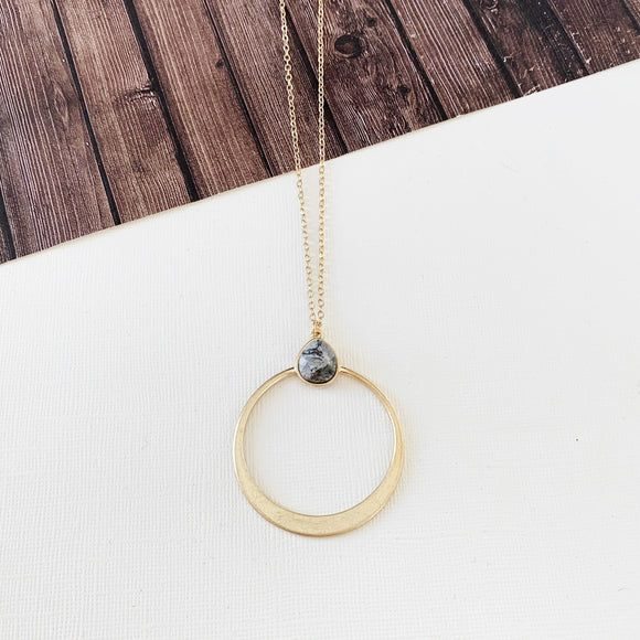 Spring Fever Necklace Collection :: Vivian Grey Quartz Natural Stone Hoop Pendant