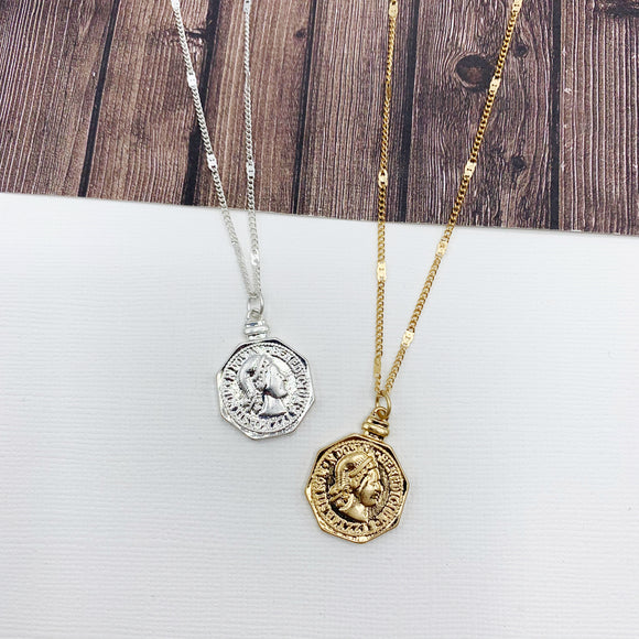 Baubles & Bits Boutique :: Tessa Roman Coin Necklace - Gold or Silver