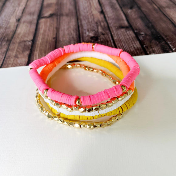 Beach Bracelet Collection :: Kristina Multi-Hued Neon Stack