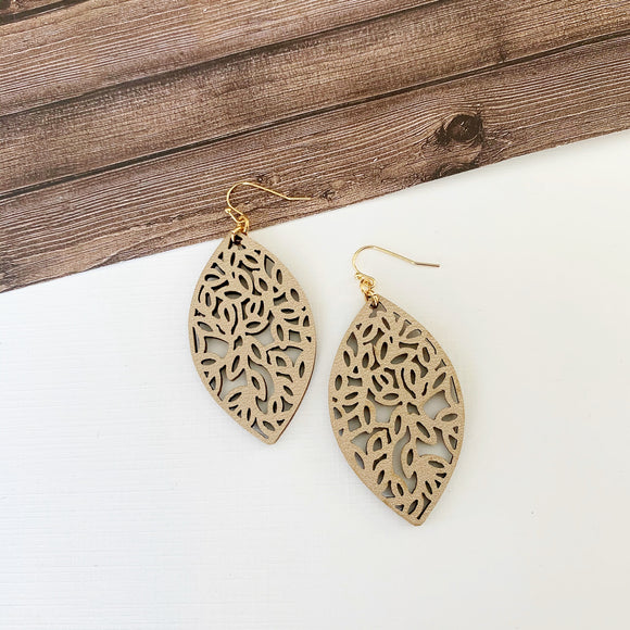 Baubles & Bits Boutique :: Eva Taupe Laser Cut Marquee Drop Earrings