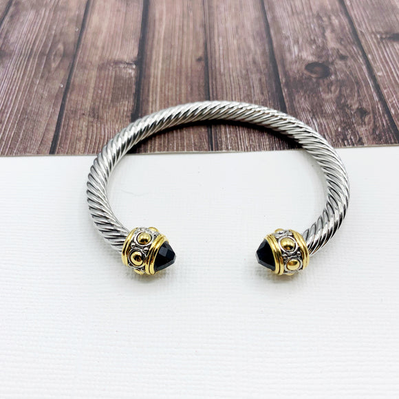 Cable Bracelet Collection :: Kiera Mixed Metal Tips - Onyx