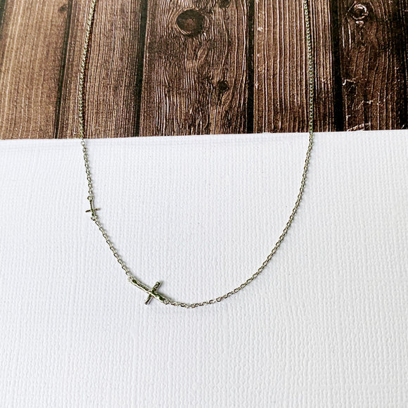 Baubles & Bits Boutique :: Callie Sideways Cross Necklace - Silver