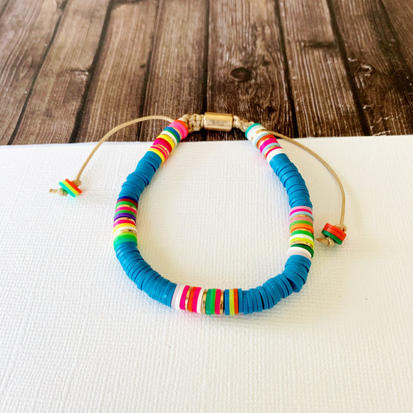 Beach Bracelet Collection :: Delilah Dark Turquoise Multi-Hued Slider Bracelet