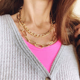 Baubles & Bits Boutique :: Kinslee Paperclip Chain Double Chain Choker - Gold