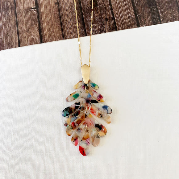 Spring Refresh Necklace Collection :: Azalea Watercolor Leaf Drop Pendant