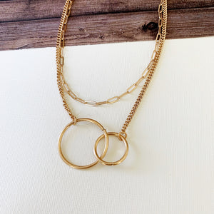 Layered Look Necklaces :: Jess Infinity Links - Gold