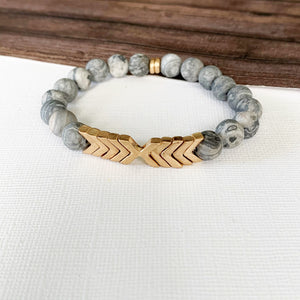 Boutique Bracelet Collection :: Alessia Natural Stone - Grey Agate