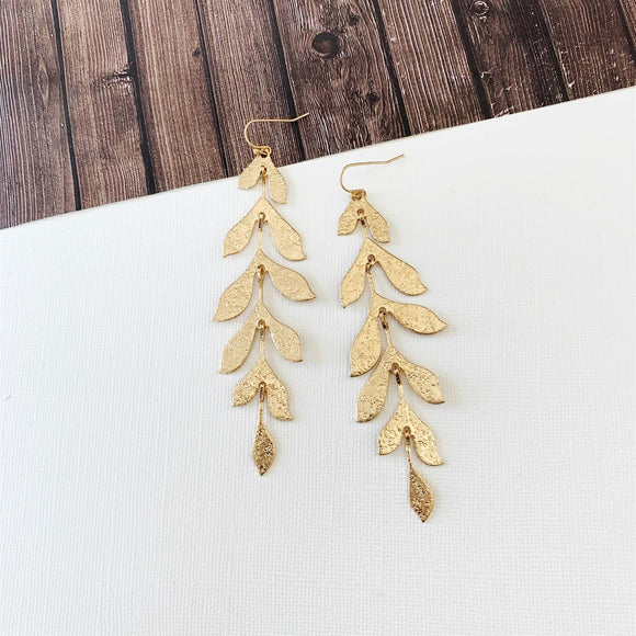 Baubles & Bits Boutique :: Marlee Greecian Gold Shimmer Leaf Dangles
