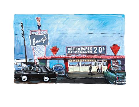 Bob Dylan Hamburger Stand, Long Beach - 2017 in stock