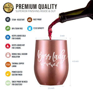Boss Lady Gifts - Large 12oz Wine Tumbler/Mug - Funny Gift idea for Girl Boss, Boss Babe, Women Bosses, Lady, Female, Office, Appreciation