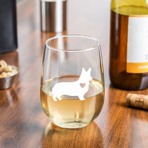 Corgi Gifts - Large 15oz Stemless Wine Glass - Unique Gift for Corgi Lovers