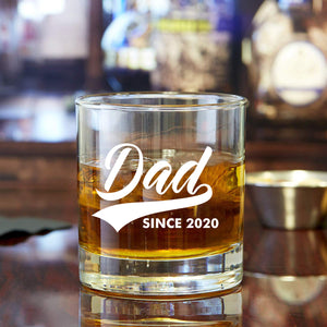 New Dad Gifts- EST 2020 11oz Funny Whiskey/Cocktail Glass- Great Gift for Dads to Be, Expectant Father, First Time Dad, Daddy to be, From Wife, Son