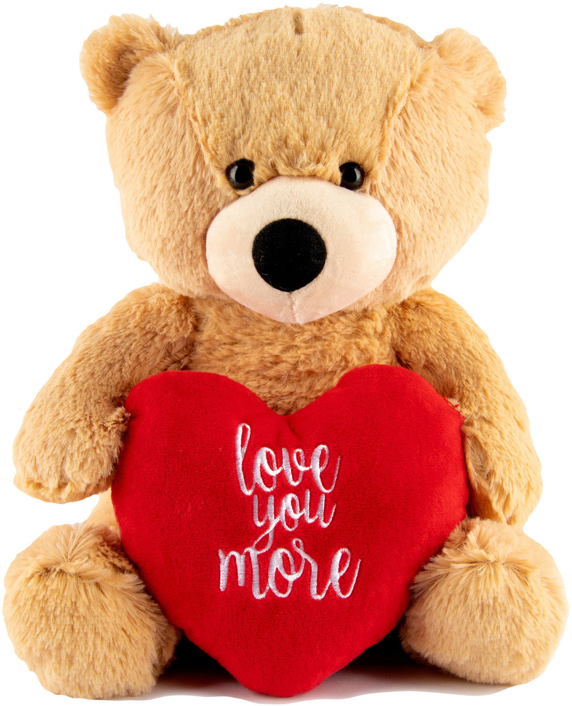 KLUBI BEAR Love You More Teddy Bear – 12 Inch Plush – Valentines Bear with Heart Stuffed Animal for Girlfriend, Boyfriend