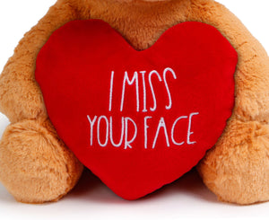 KLUBI BEAR - I Miss Your Face 12 Inch Plush – Valentines Teddy Bear Gift for Girlfriend, Long Distance Gifts, Boyfriend, Miss You Stuffed Animal, Heart