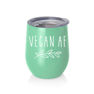 "Vegan Gifts""Vegan AF"" Wine Tumbler or Coffee 12oz Gift for Vegans, Women, Men, Mug"