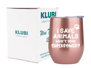 Vet Tech Gifts - I Save Animals, What's Your Superpower - 12oz Tumbler/Mug for Wine or Coffee