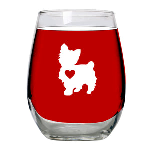 Yorkie Gifts- Wine Glass Stemless Large 15oz - Unique Gift Idea for Yorkshire Terrier Lovers, Women, Dogs