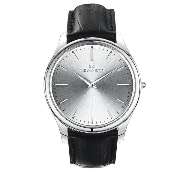 Kennett Watch Black Kennett Kensington Silver unisex Watch - Leather Strap