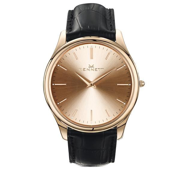 Kennett Watch Black Kennett Kensington Watch Rose Gold Royal Blue Leather