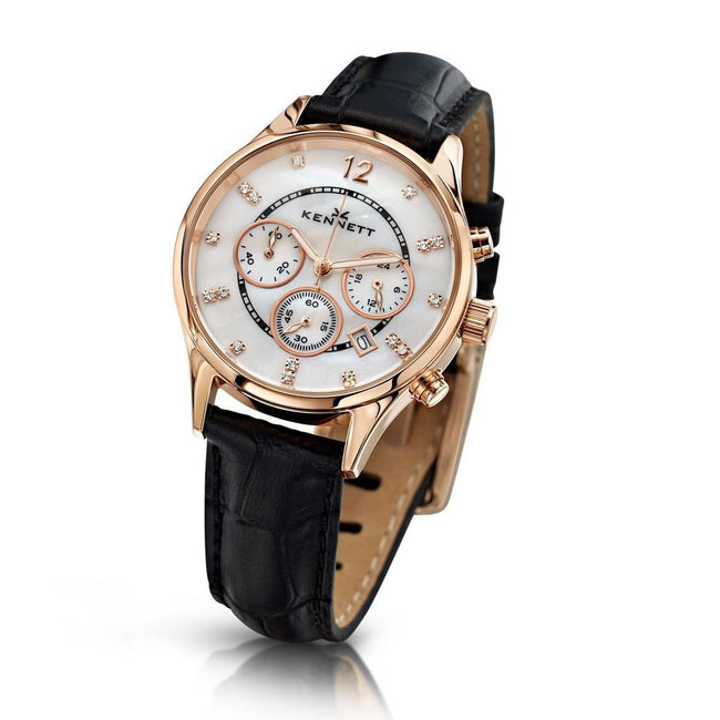 Kennett Watch Black Lady Savro Watch - Rose Gold