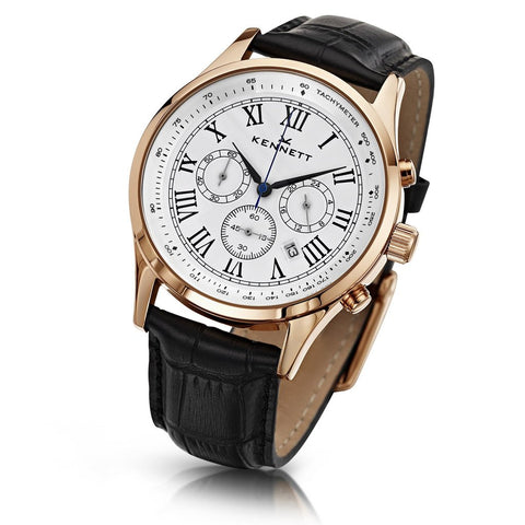 Kennett Watch Black Savro Gold Watch - White Watch Face - Leather Strap