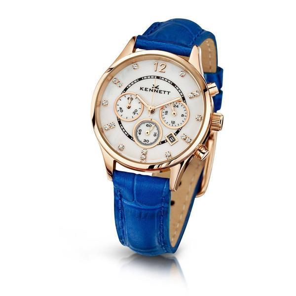Kennett Watch Blue Lady Savro Watch - Rose Gold
