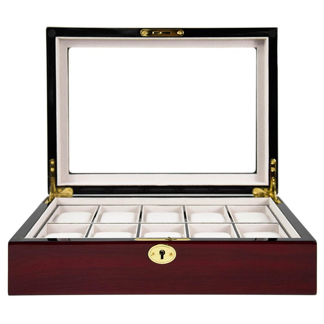 Kennett Watch Box Cherry 10 Piece Wooden Watch Box - Cherry Matte Finish