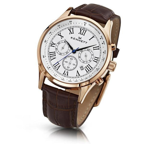 Kennett Watch Brown Savro Gold Watch - White Watch Face - Leather Strap