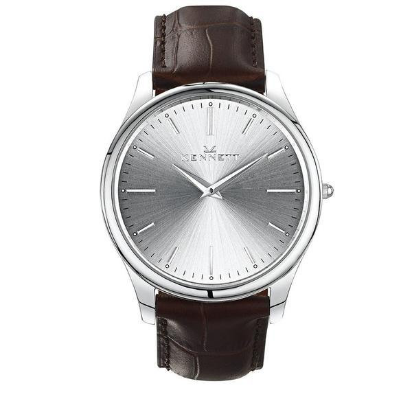 Kennett Watch Dark Brown Kennett Kensington Silver unisex Watch - Leather Strap