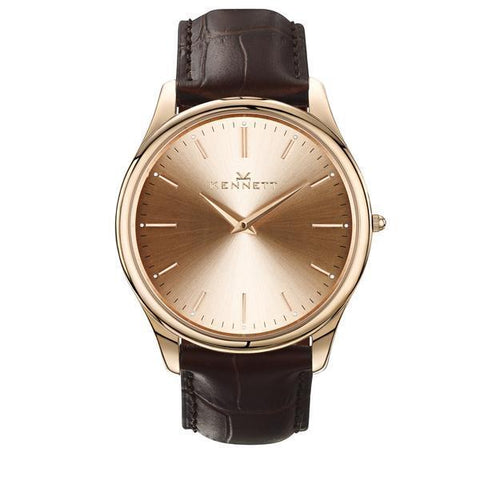 Kennett Watch Dark Brownn Kennett Kensington Watch Rose Gold Royal Blue Leather