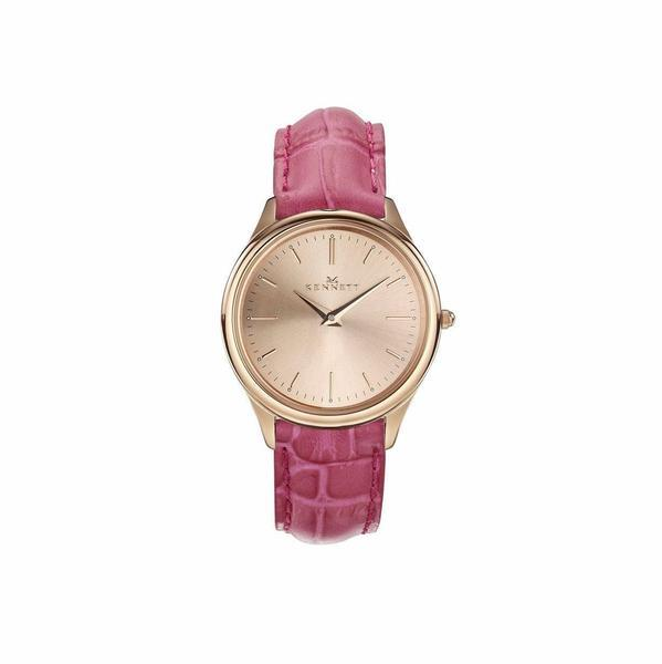 Kennett Watch Hot Pink Kensington Ladies Rose Gold Watch - Leather Strap
