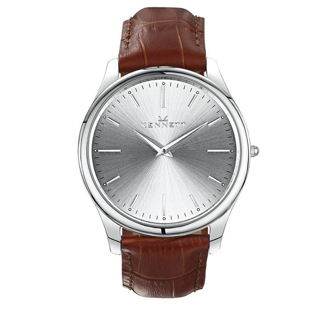 Kennett Watch Light Brown Kennett Kensington Silver unisex Watch - Leather Strap