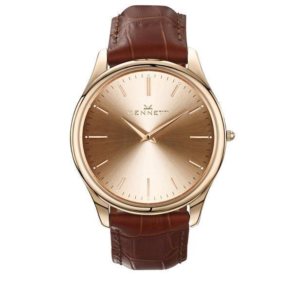 Kennett Watch Light Brown Kennett Kensington Watch Rose Gold Royal Blue Leather