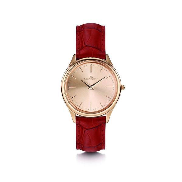 Kennett Watch Red Kensington Ladies Rose Gold Watch - Leather Strap