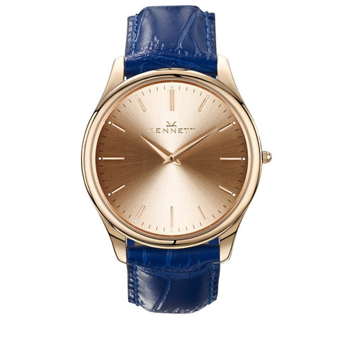 Kennett Watch Royal Blue Kennett Kensington Watch Rose Gold Royal Blue Leather