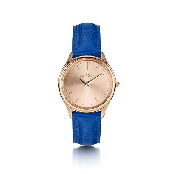 Kennett Watch Royal Blue Kensington Ladies Rose Gold Watch - Leather Strap