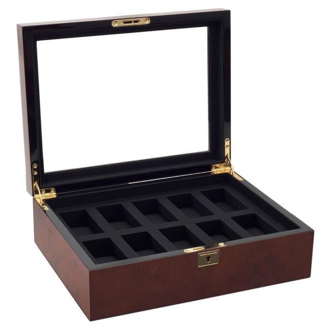 Watchavenueuk  Savoy 10pc Watch Box Burlwood