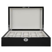 Wolf Watch Box black 10 Piece Wooden Watch Box - Black Gloss Finish