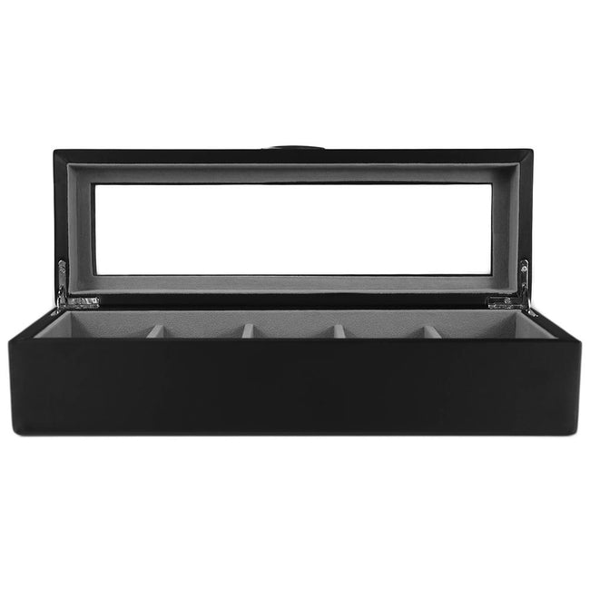 Wolf Watch Box black 5 Piece Watch Box With Window - Black Leather Finish
