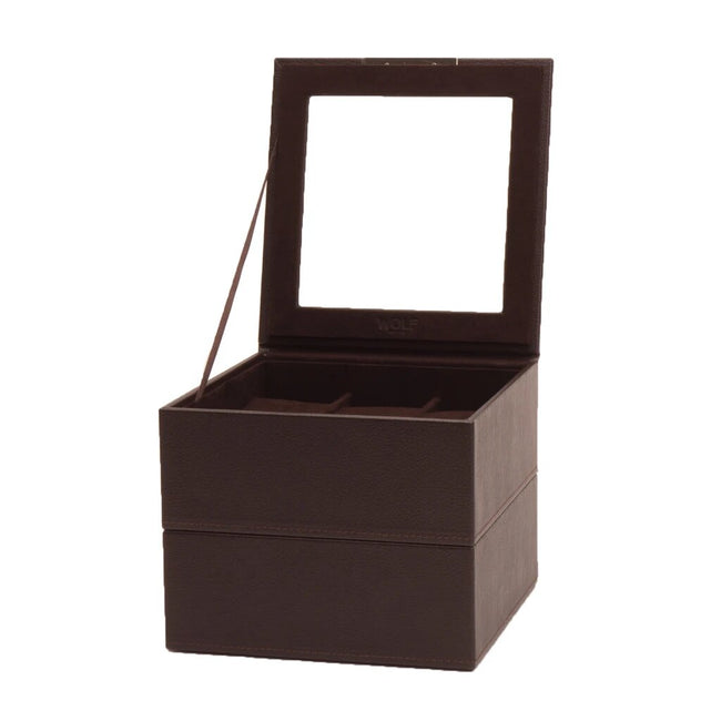 Wolf Watch Box Wolf - Stackable Watch Tray - Set of 2 6 Piece Watch Tray Brown