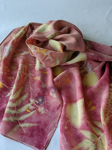 Botanical Print Silk Scarf -Soft Red