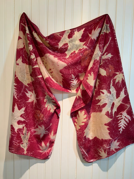 Botanical Print Silk Scarf -Red